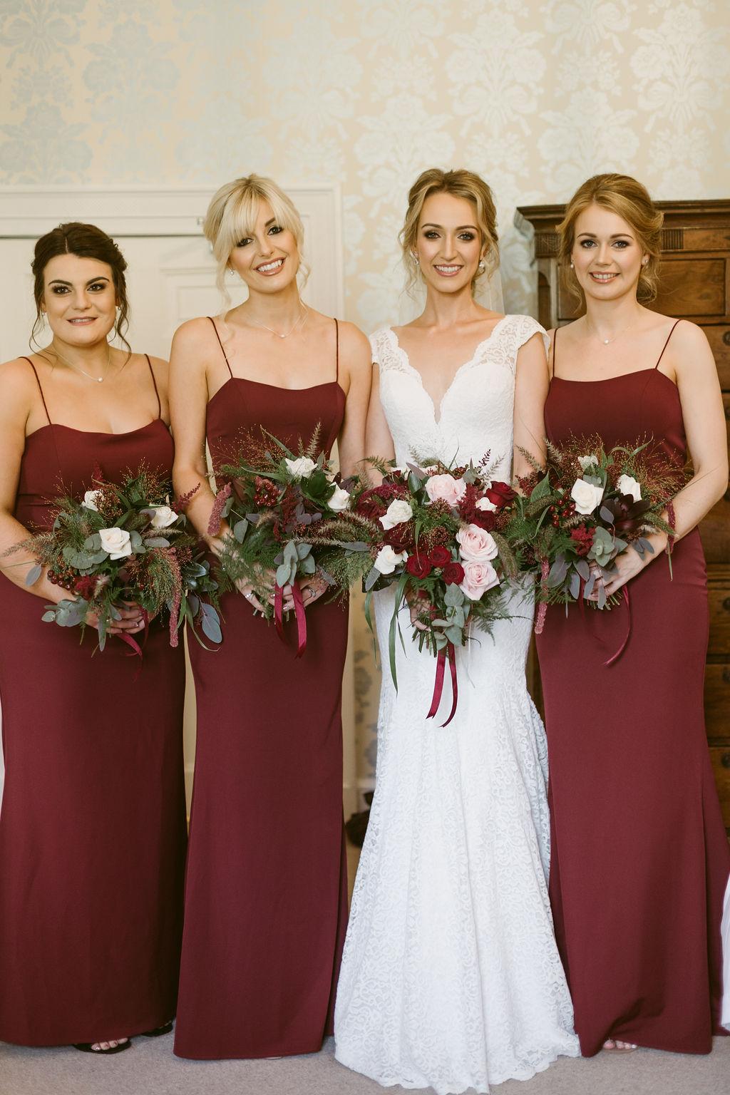 Bridesmaids in burgundy | Elsick House | Aberdeenshire