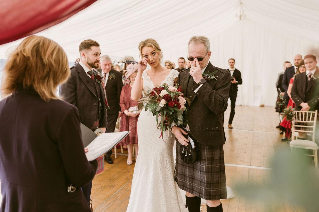Elsick House Wedding | Emotional moment with bride dad