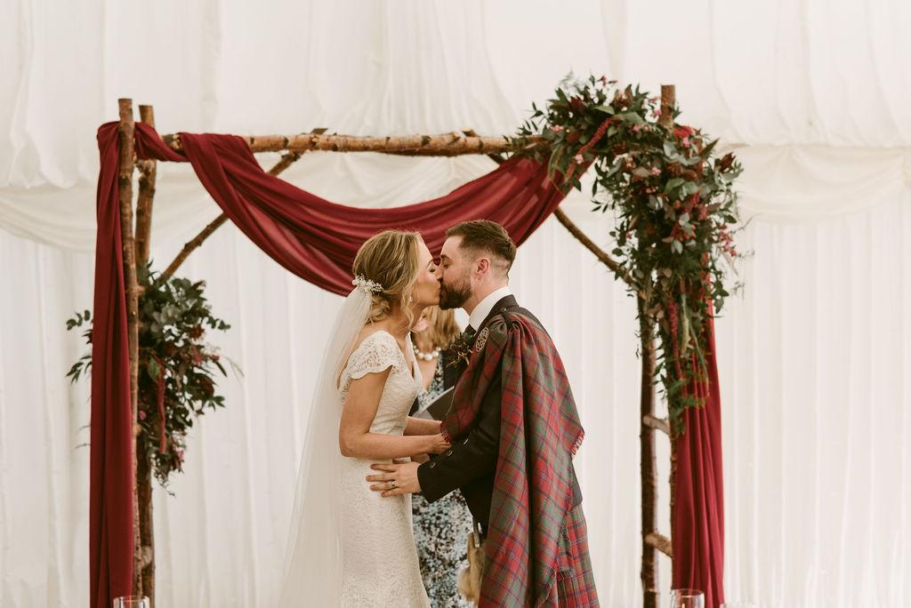 Elsick House Wedding Photgoraphy birch wood burgundy wedding arch