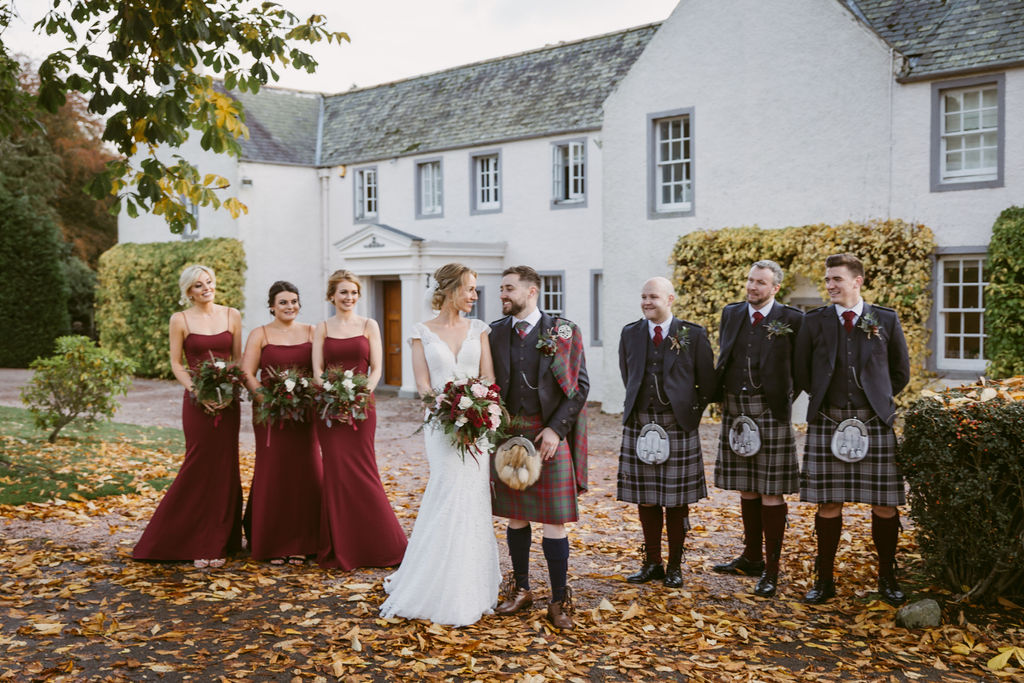 Elsick House Wedding | Aberdeenshire Photographer | Bridal Party Group Photos | Bridesmaids and Groomsmen in front of Elsick House
