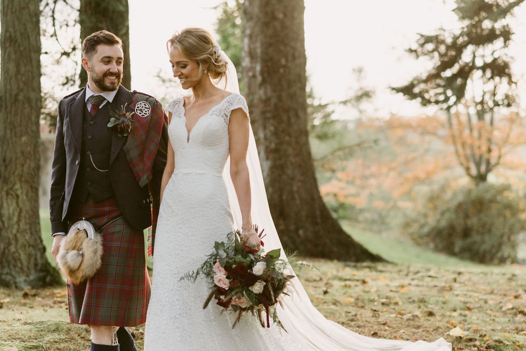 Mikaella Bridal Olive Jones Bridal Edinburgh | Burgundy Wedding at Elsick House