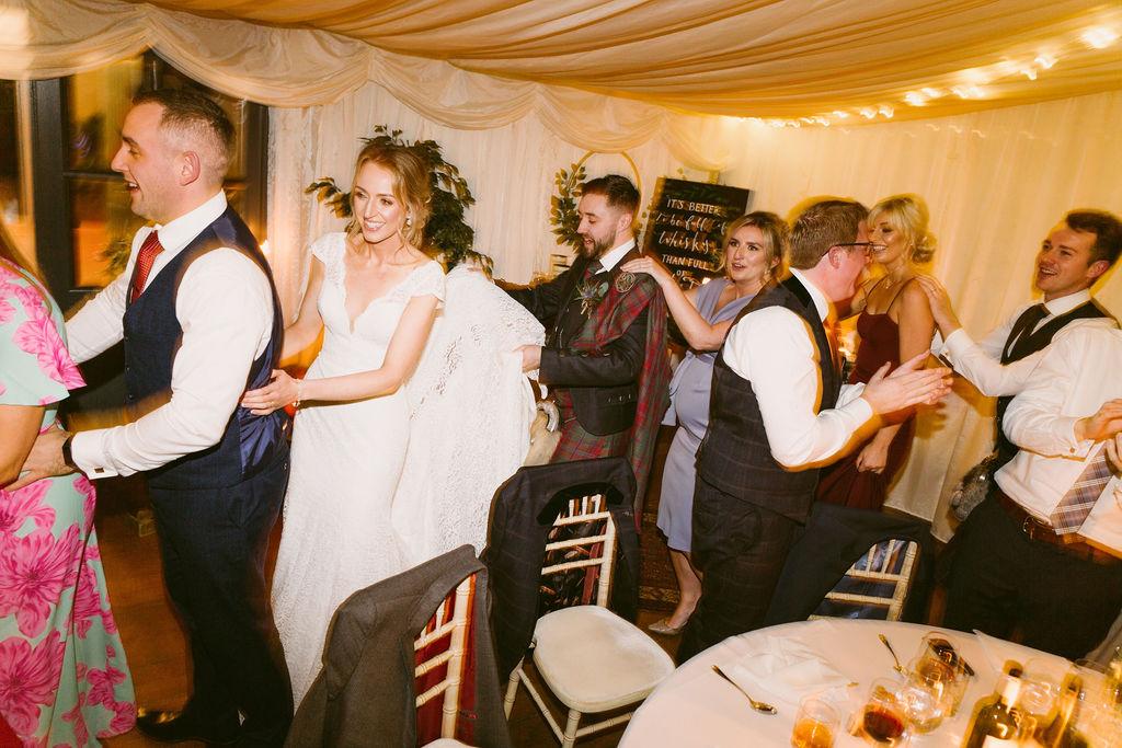 Elsick House Wedding Reception in Marquee Aberdeenshire Photographer