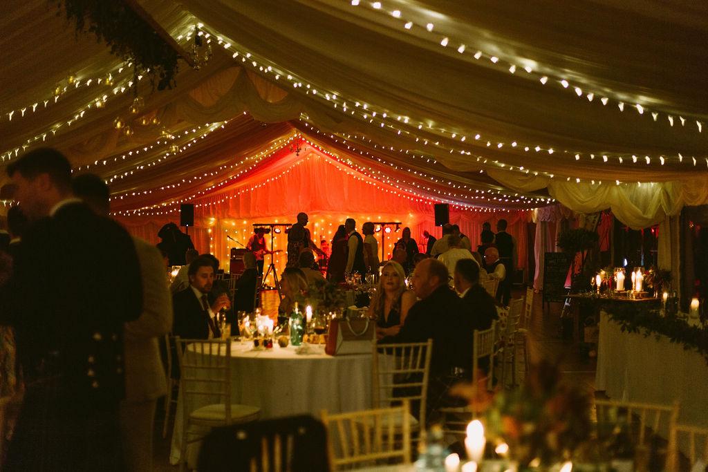 Elsick House Wedding Reception in Marquee Aberdeenshire Photographer | Fairylights