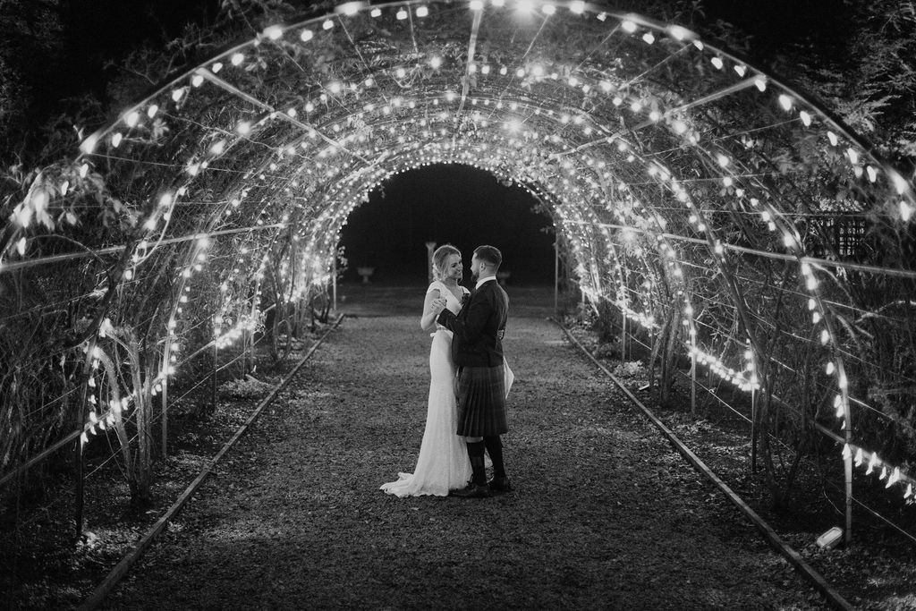 Elsick House Rose Arch winter wedding