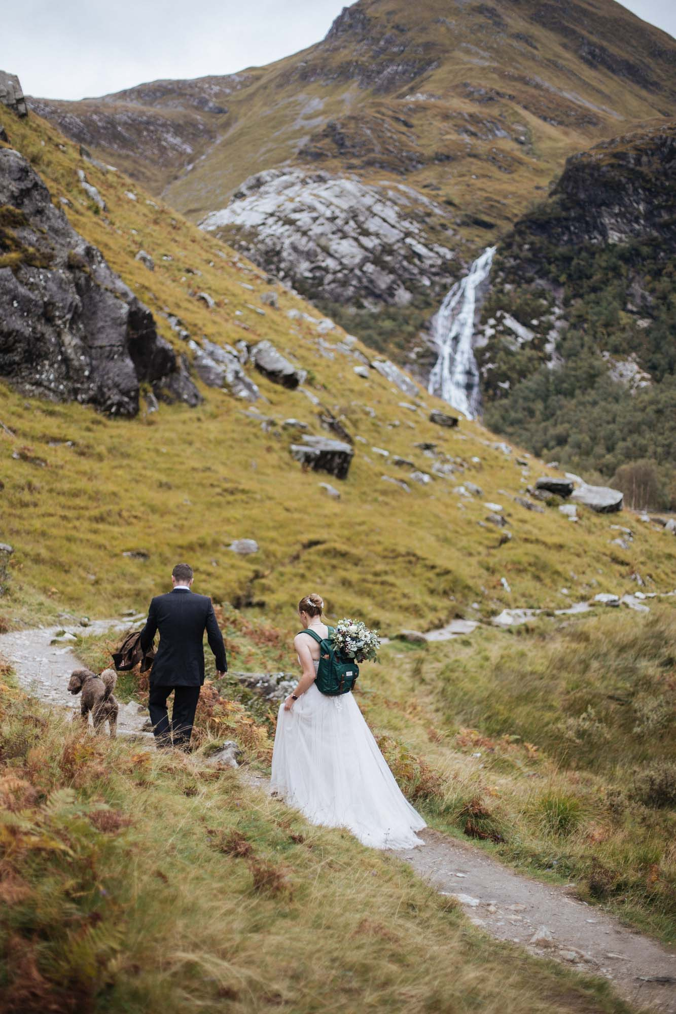 Hiking to a wedding spot