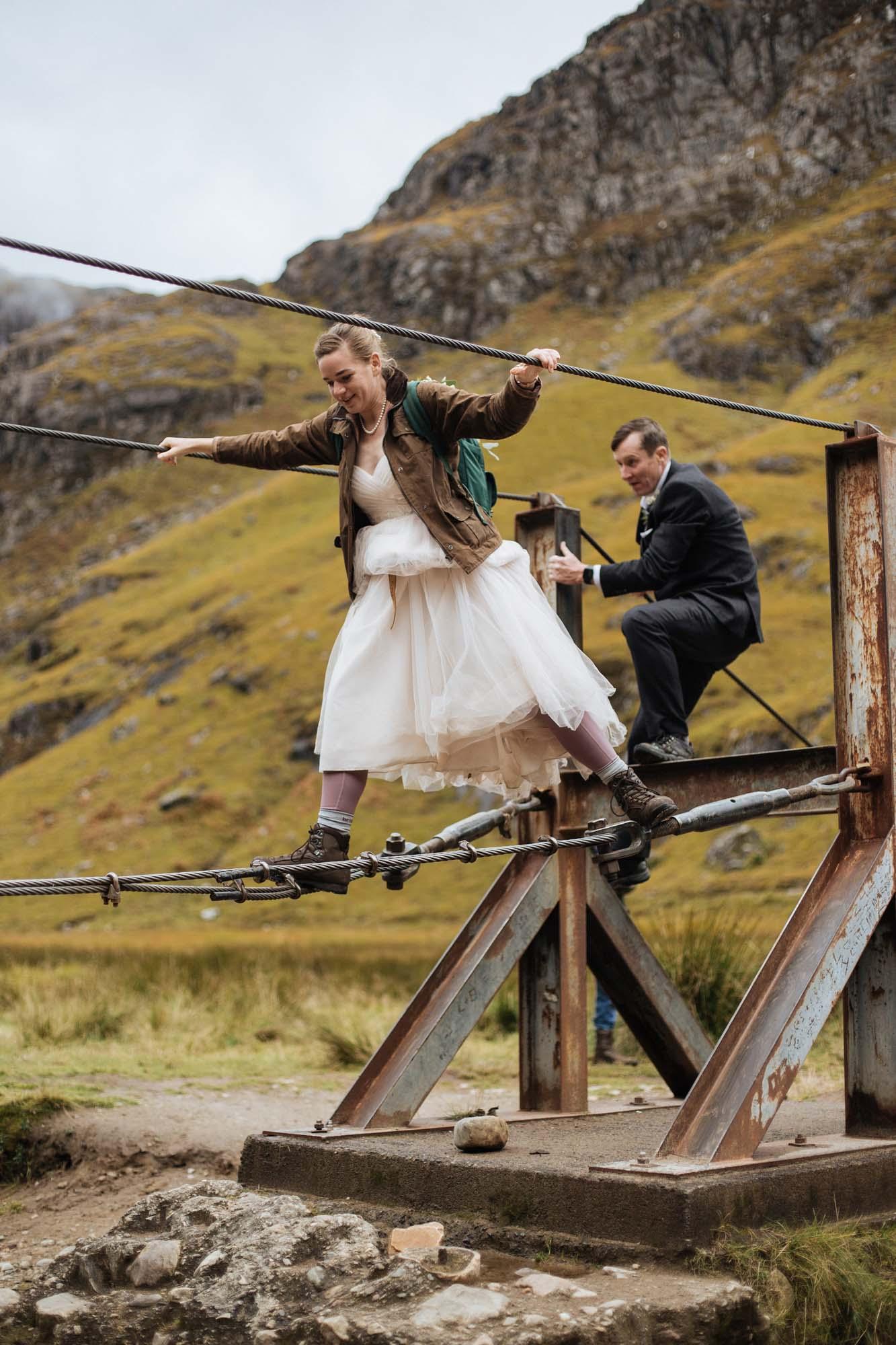 Hiking Elopement in Scotland | Rope Bridge Bride
