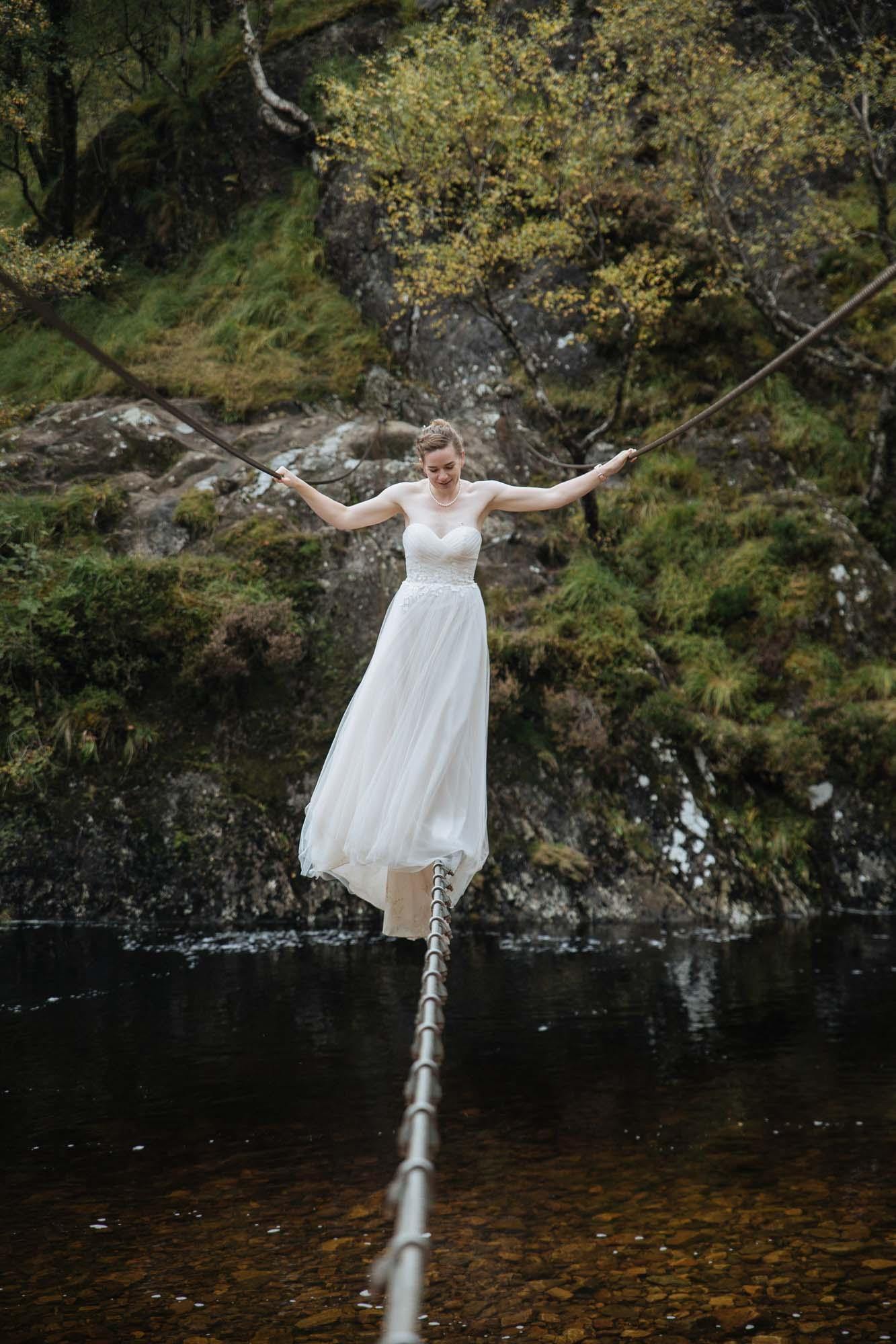 Bride on Rope Bridge