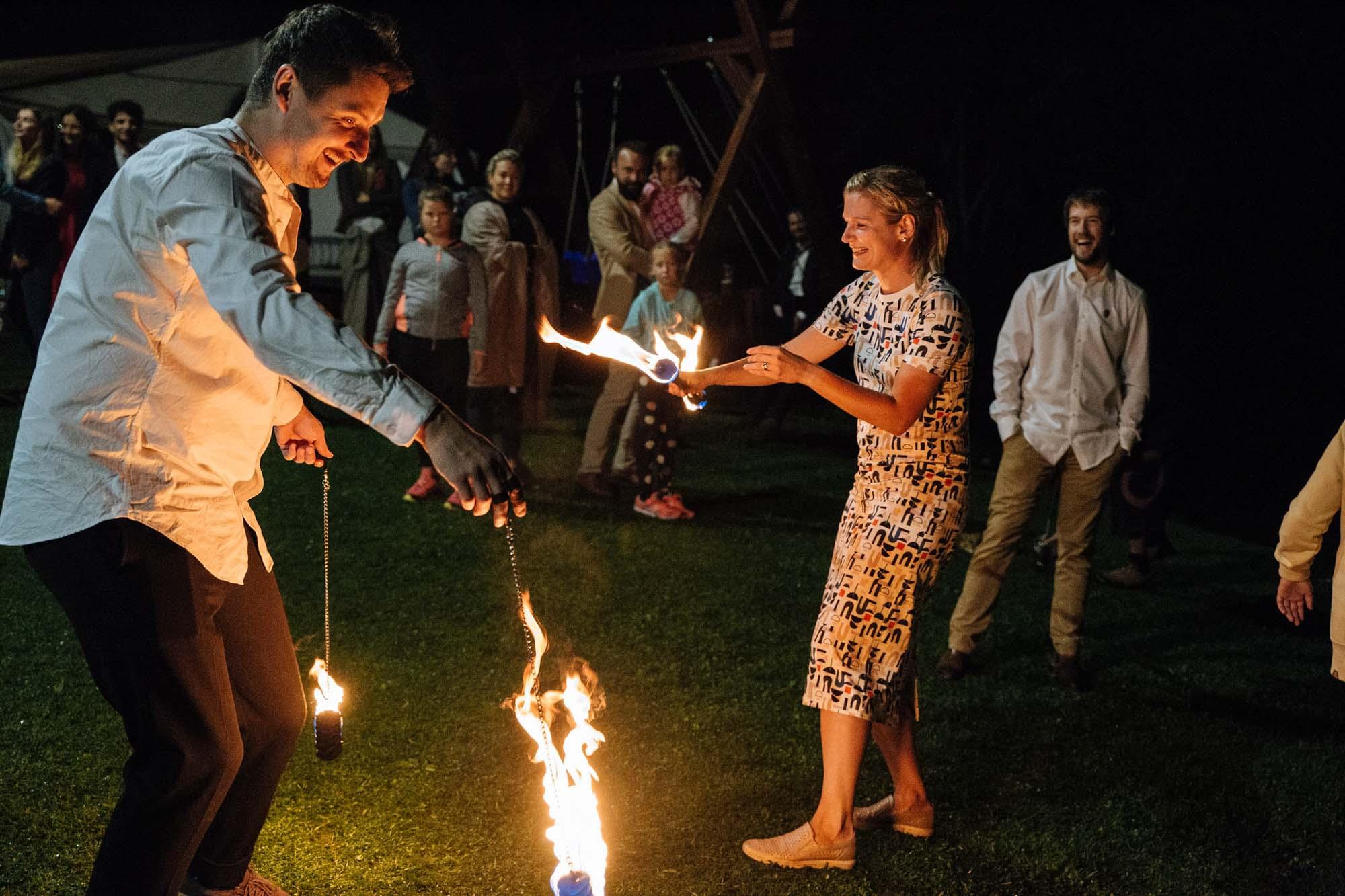 Ohňová show na svatbu