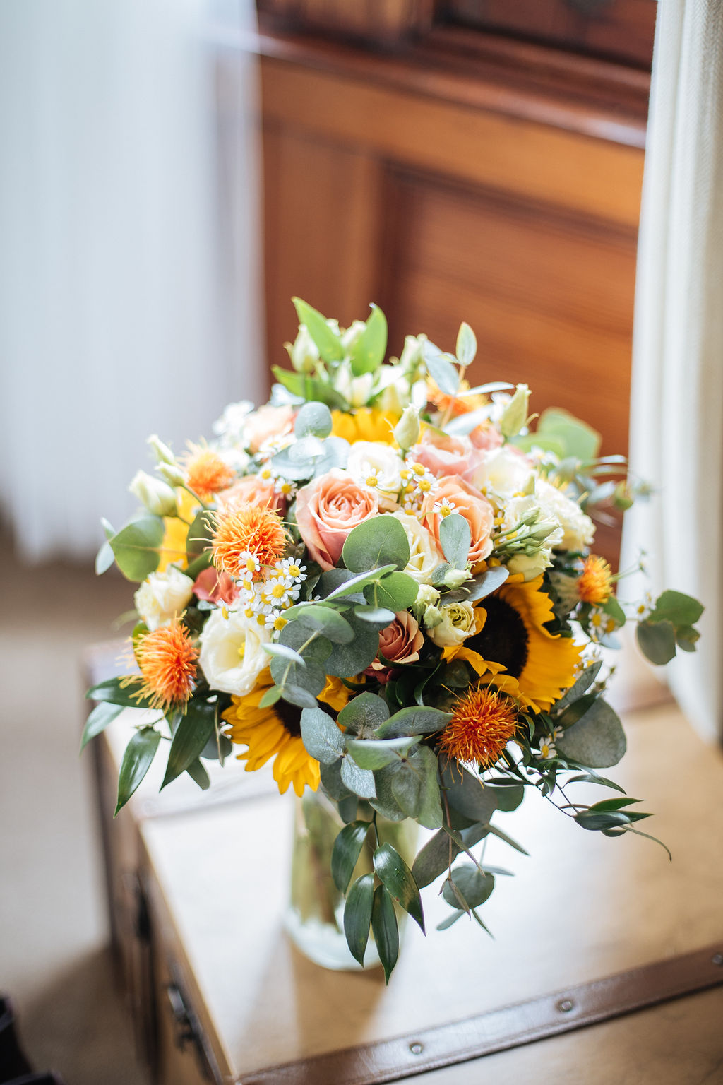 Yellow and eucalyptus wedding bouquet