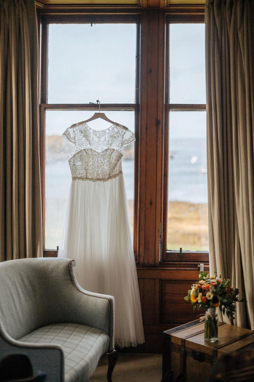 Wedding Dress at Shieldaig Lodge